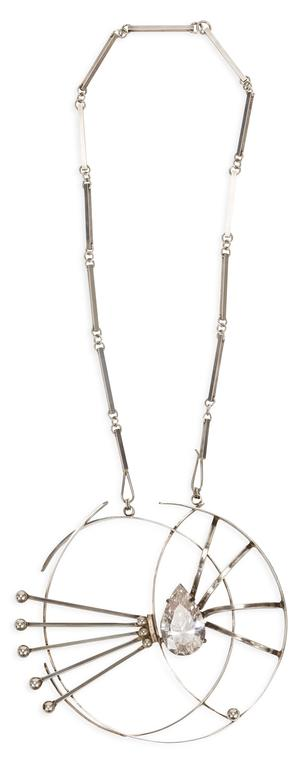 Aaron Rubenstein mid-century custom necklace with flat bar link chain and large  pendant with center abstract design and center tear drop crystal. Signed Aaron Rubenstein / Sterling. MEASUREMENTS: Chain drop -  14