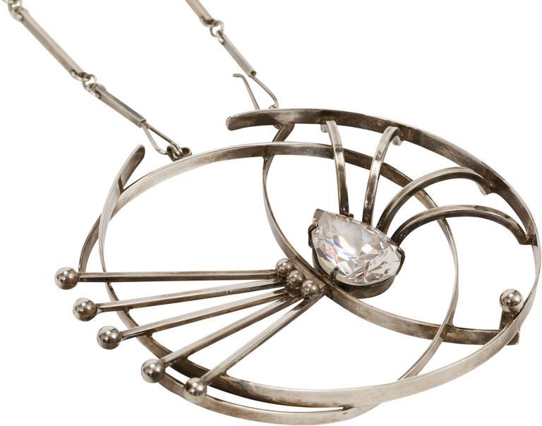 Women's 1960's Aaron Rubenstein Modernist Sterling Silver Necklace w/Flat Bar Link Chain For Sale