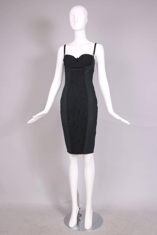 Dolce & Gabbana Black Bodycon Bustier Dress w/Lace Insets In Excellent Condition For Sale In Los Angeles, CA