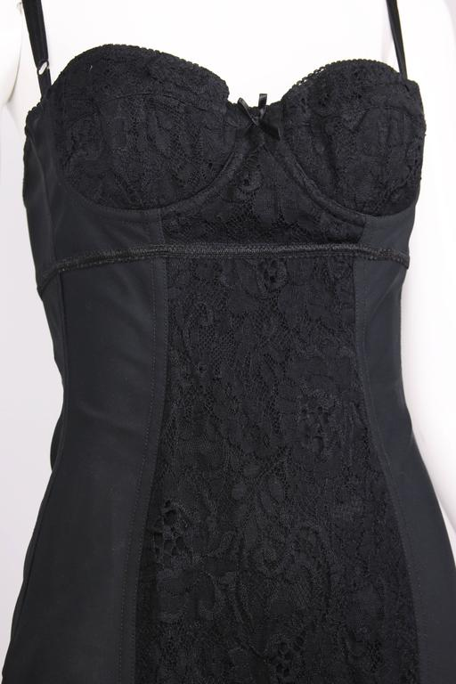 Dolce & Gabbana Black Bodycon Bustier Dress w/Lace Insets For Sale 3