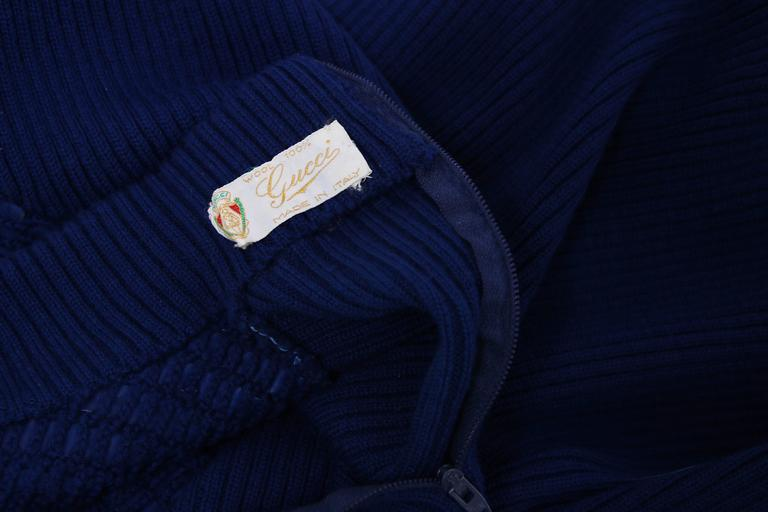 1970's Gucci Blue Wool Ribbed Mock Turtle Neck Sweater W/Suede Woven Into Fabric 8