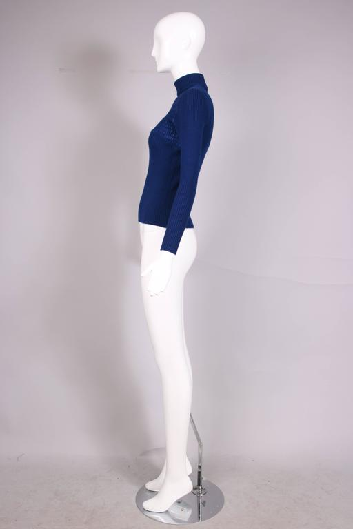 1970's Gucci Blue Wool Ribbed Mock Turtle Neck Sweater W/Suede Woven Into Fabric 4