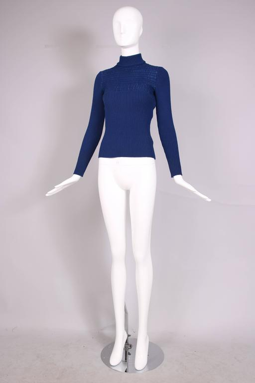 1970's Gucci Blue Wool Ribbed Mock Turtle Neck Sweater W/Suede Woven Into Fabric 3