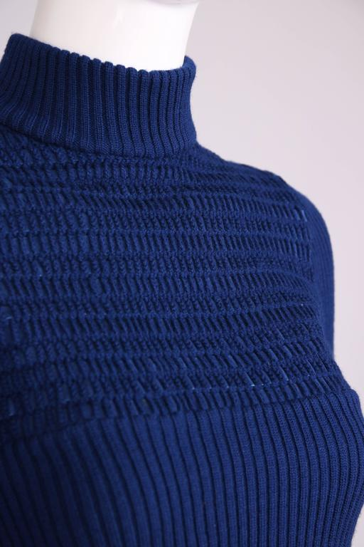 1970's Gucci Blue Wool Ribbed Mock Turtle Neck Sweater W/Suede Woven Into Fabric 7