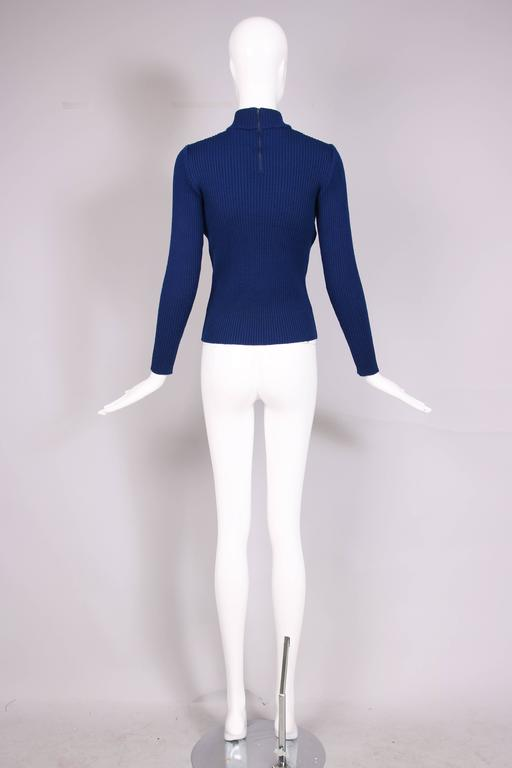 1970's Gucci Blue Wool Ribbed Mock Turtle Neck Sweater W/Suede Woven Into Fabric 5