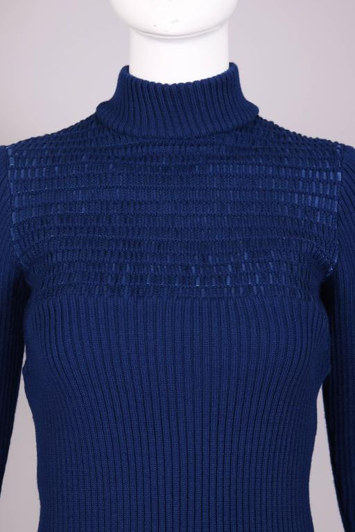 1970's Gucci Blue Wool Ribbed Mock Turtle Neck Sweater W/Suede Woven Into Fabric 6