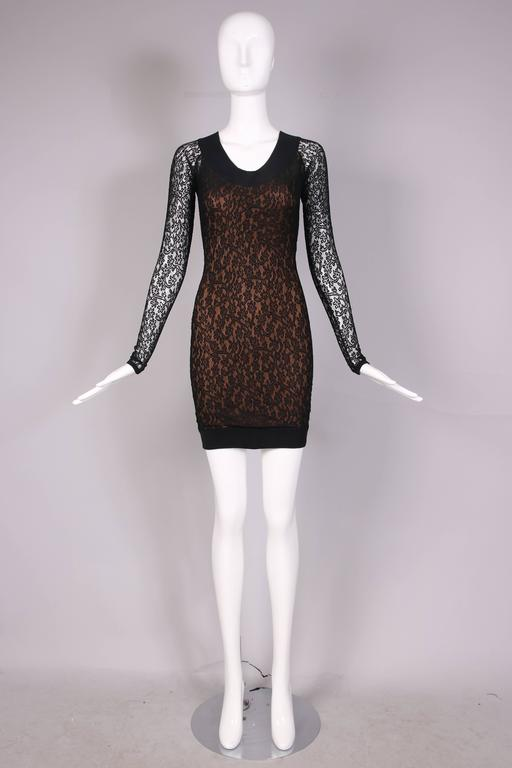 Vintage Alaia Black Lace Bodycon Mini Dress with Sheer Lace Sleeves In Excellent Condition For Sale In Los Angeles, CA