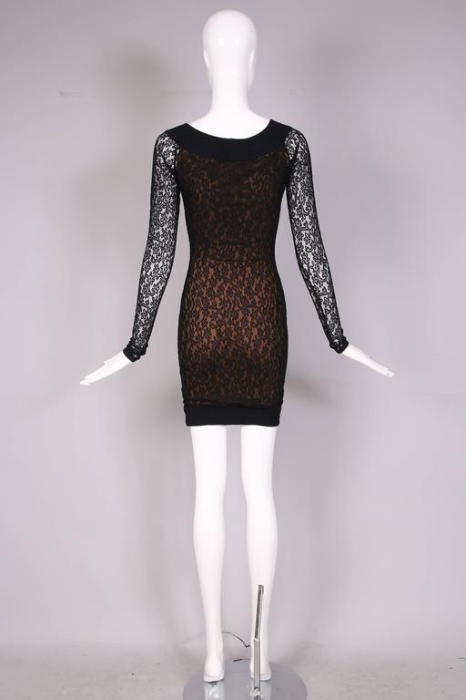 Vintage Alaia Black Lace Bodycon Mini Dress with Sheer Lace Sleeves For Sale 1