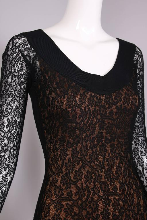 Vintage Alaia Black Lace Bodycon Mini Dress with Sheer Lace Sleeves For Sale 2