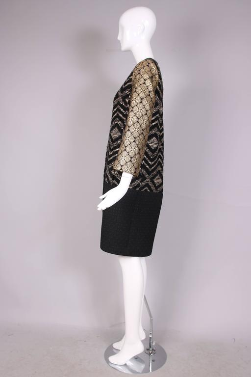 Women's Giambattista Valli Black & Gold Brocade Patchwork Coat  For Sale