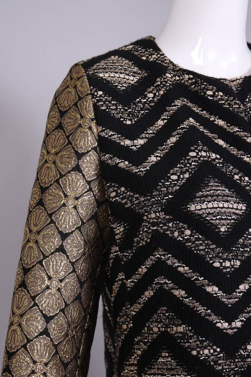 Giambattista Valli Black & Gold Brocade Patchwork Coat  For Sale 2