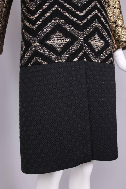 Giambattista Valli Black & Gold Brocade Patchwork Coat  For Sale 3