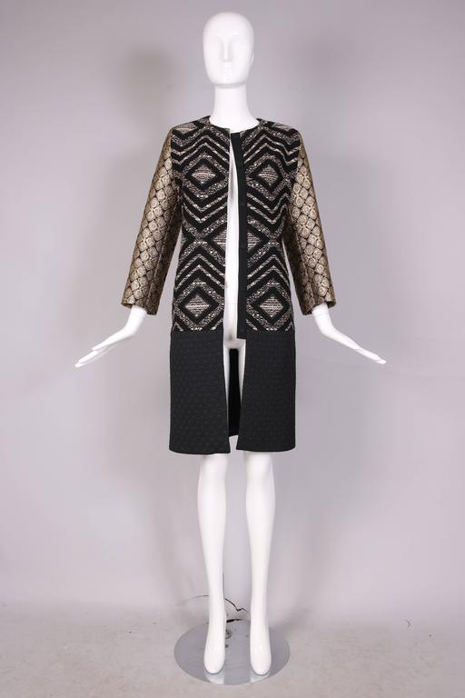 Giambattista Valli Black & Gold Brocade Patchwork Coat  In Excellent Condition For Sale In Los Angeles, CA