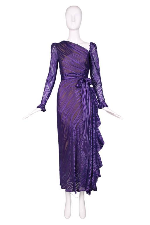 1970's Yves Saint Laurent YSL Royal Purple Sheer Silk Damask Gown 2