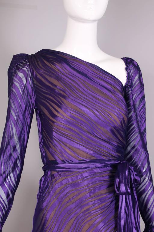 1970's Yves Saint Laurent YSL Royal Purple Sheer Silk Damask Gown 6