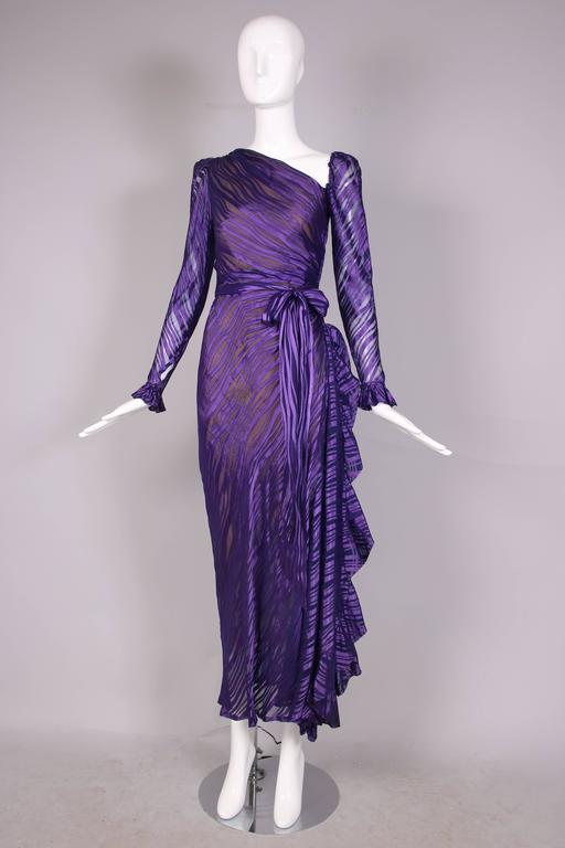 1970\'s Yves Saint Laurent YSL Royal Purple Sheer Silk Damask Gown at ...