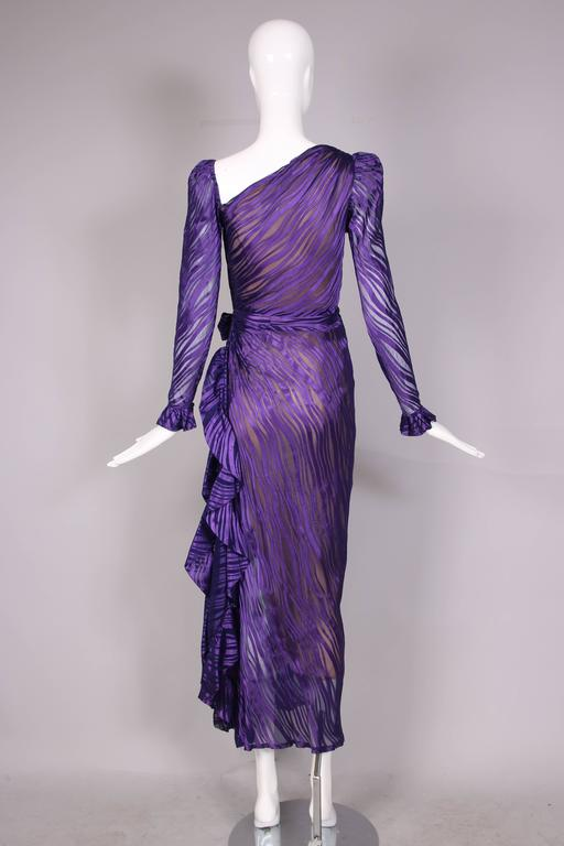 1970's Yves Saint Laurent YSL Royal Purple Sheer Silk Damask Gown 5