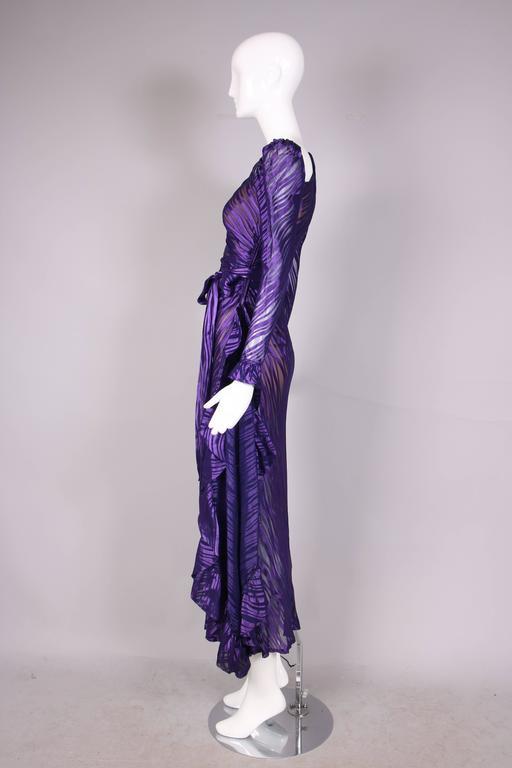 1970's Yves Saint Laurent YSL Royal Purple Sheer Silk Damask Gown 4