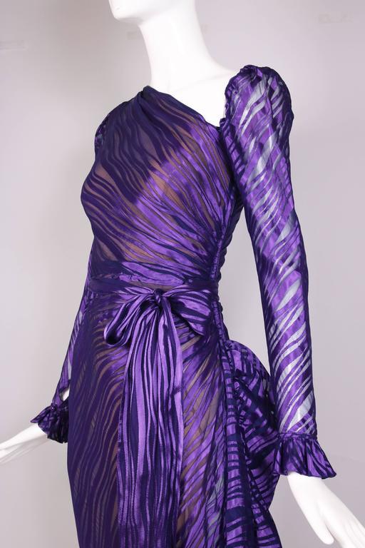 1970's Yves Saint Laurent YSL Royal Purple Sheer Silk Damask Gown 7