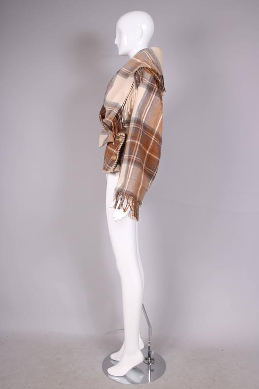 Women's 2005 Alexander McQueen Plaid Shawl Jacket W/Fringe At Hem & Fitted Waist For Sale