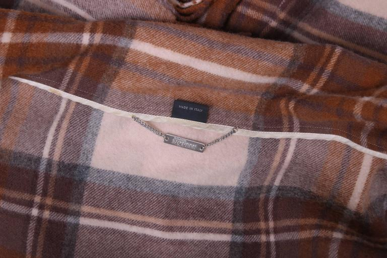 2005 Alexander McQueen Plaid Shawl Jacket W/Fringe At Hem & Fitted Waist For Sale 2