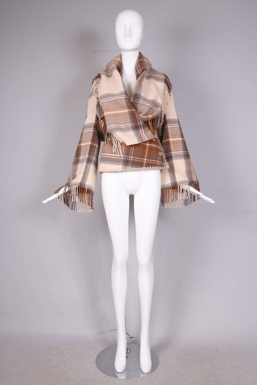 2005 Alexander McQueen Plaid Shawl Jacket W/Fringe At Hem & Fitted Waist In Excellent Condition For Sale In Los Angeles, CA