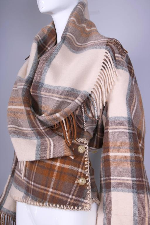 2005 Alexander McQueen Plaid Shawl Jacket W/Fringe At Hem & Fitted Waist For Sale 1