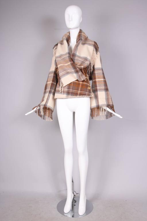 2005 Alexander McQueen fleece wool plaid shawl jacket in camel, cream and beige from the,