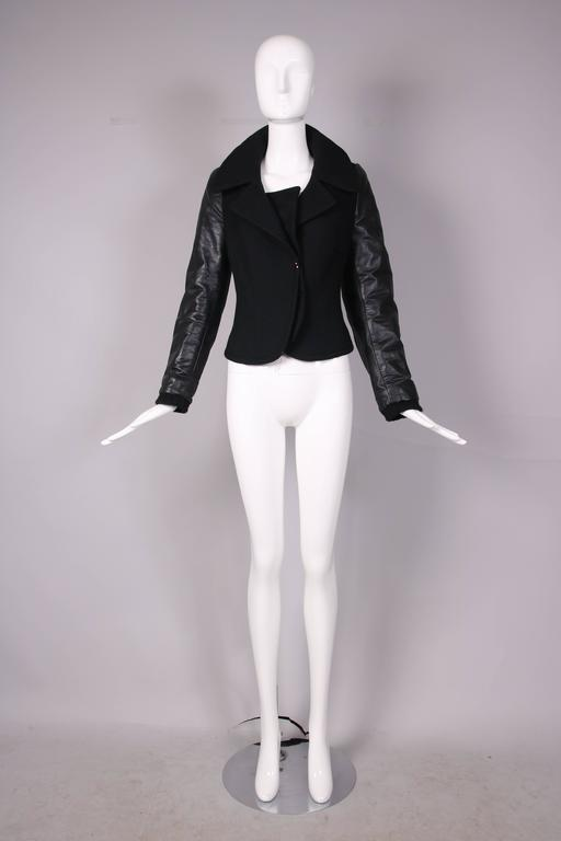 Balenciaga by Nicolas Ghesquiere Black Leather & Wool Motorcycle Jacket 3