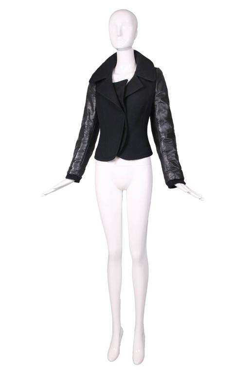 Balenciaga by Nicolas Ghesquiere Black Leather & Wool Motorcycle Jacket 2