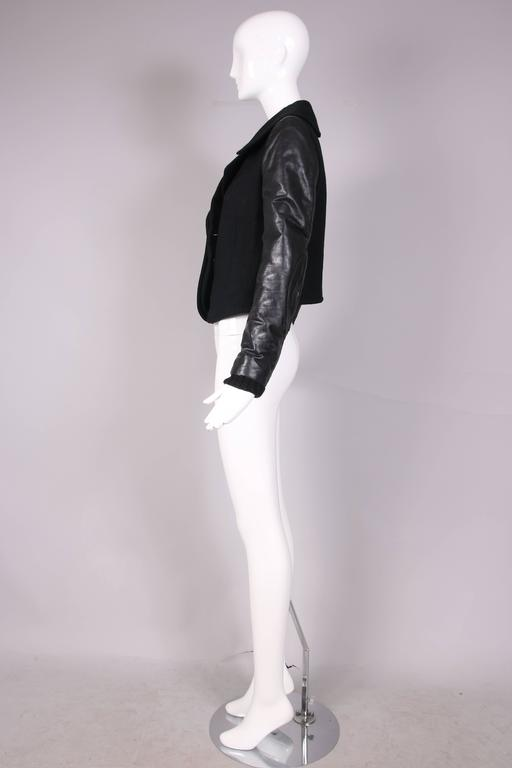 Balenciaga by Nicolas Ghesquiere Black Leather & Wool Motorcycle Jacket 4