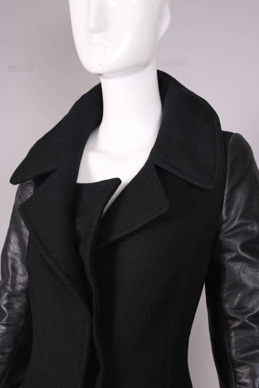 Balenciaga by Nicolas Ghesquiere Black Leather & Wool Motorcycle Jacket 5
