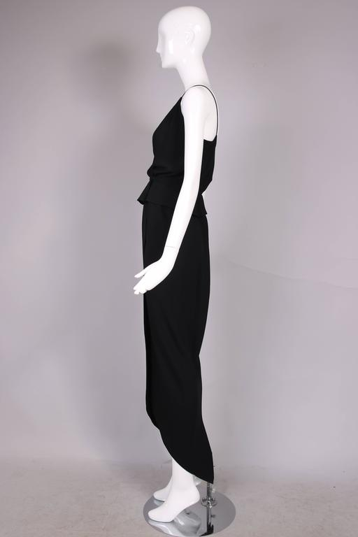 Women's 1970's Halston Black Silk Crepe Tulip Wrap Skirt & Low V-Neck Top Ensemble For Sale