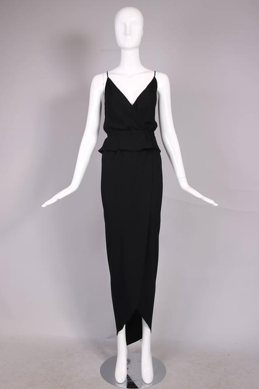 1970's Halston Black Silk Crepe Tulip Wrap Skirt & Low V-Neck Top Ensemble In Excellent Condition For Sale In Los Angeles, CA