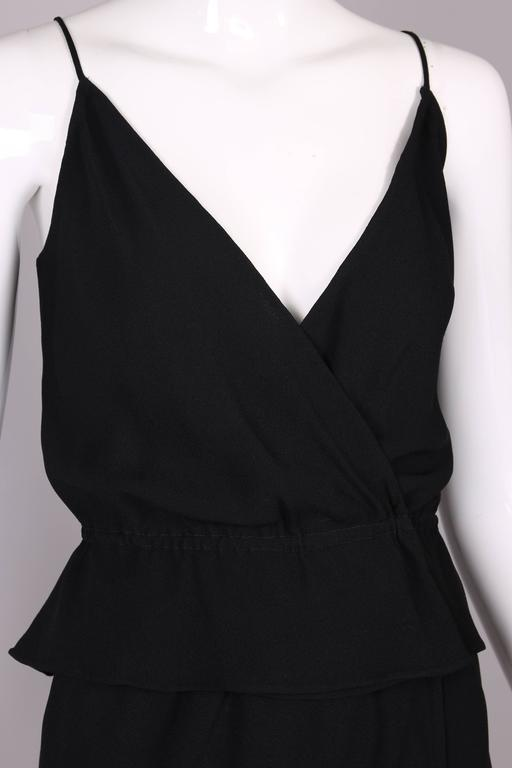 1970's Halston Black Silk Crepe Tulip Wrap Skirt & Low V-Neck Top Ensemble For Sale 1