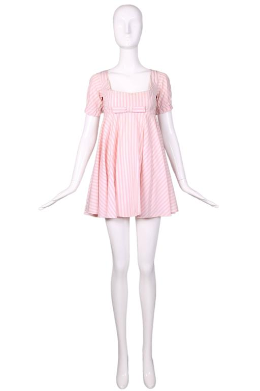 Vivienne Westwood Pink & White Striped Bustier Babydoll Dress Ca. 1992 2