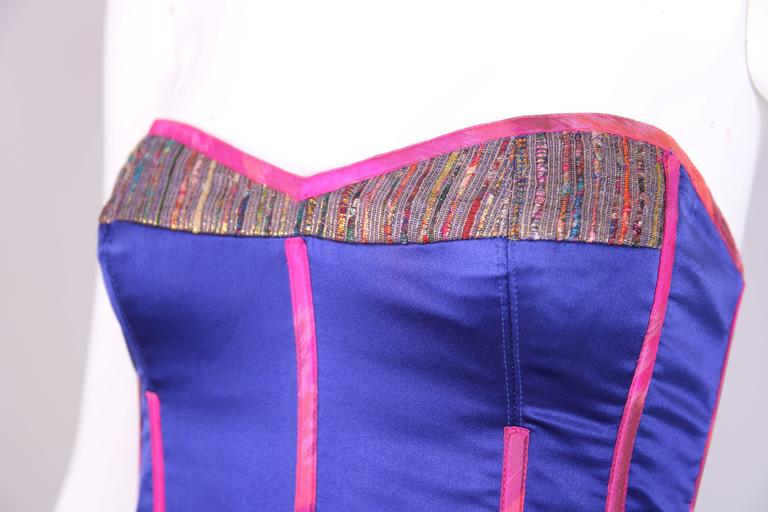 Tracy Feith Purple Silk Bustier W/Hot Pink Trim & Metallic Inset For Sale 3