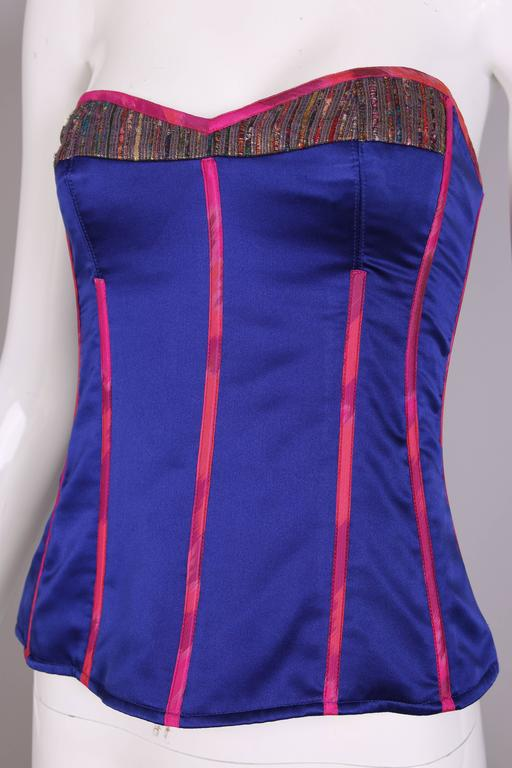 Tracy Feith Purple Silk Bustier W/Hot Pink Trim & Metallic Inset For Sale 2