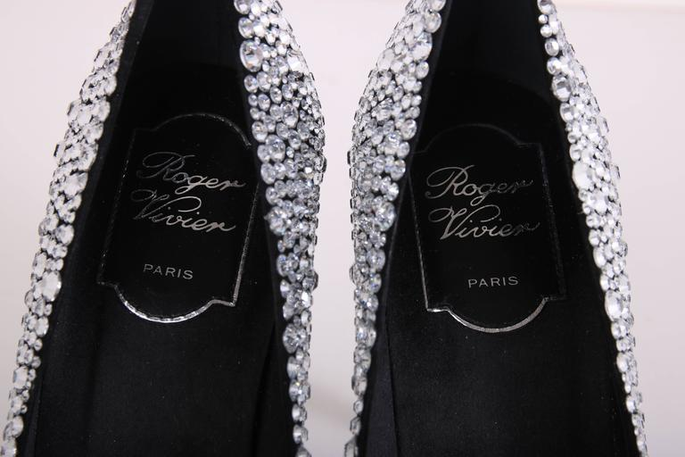 Roger Vivier Black Satin Crystal Encrusted Stiletto For Sale 3