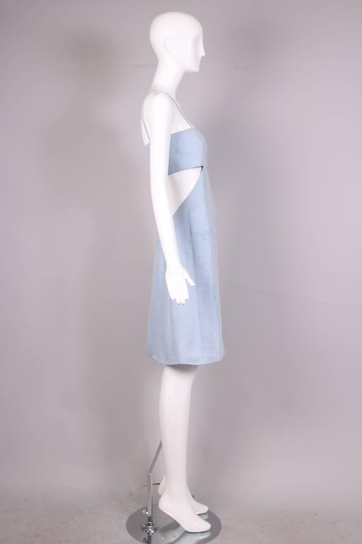 Gray 1990's Claude Montana Blue Chambray Day Dress w/Asymmetrical Cut Out For Sale
