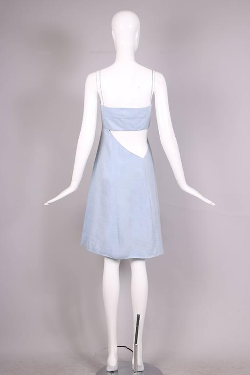 1990's Claude Montana Blue Chambray Day Dress w/Asymmetrical Cut Out In Excellent Condition For Sale In Los Angeles, CA