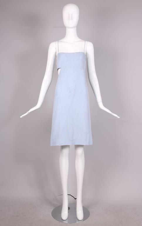 Women's 1990's Claude Montana Blue Chambray Day Dress w/Asymmetrical Cut Out For Sale