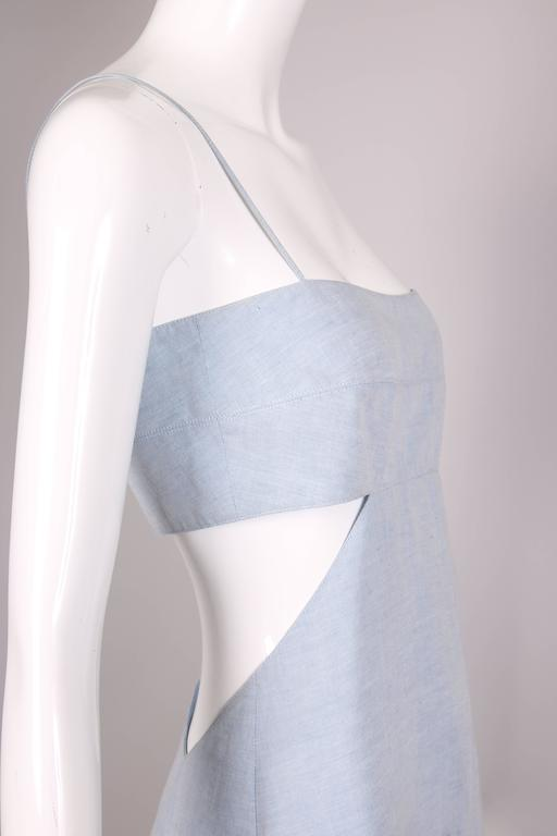 1990's Claude Montana Blue Chambray Day Dress w/Asymmetrical Cut Out For Sale 1