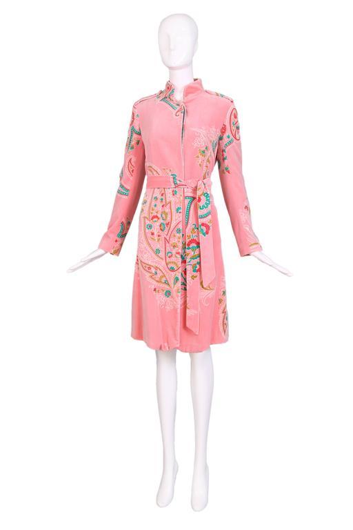 Matthew Williamson Pink Velvet Belted Coat W Floral Print