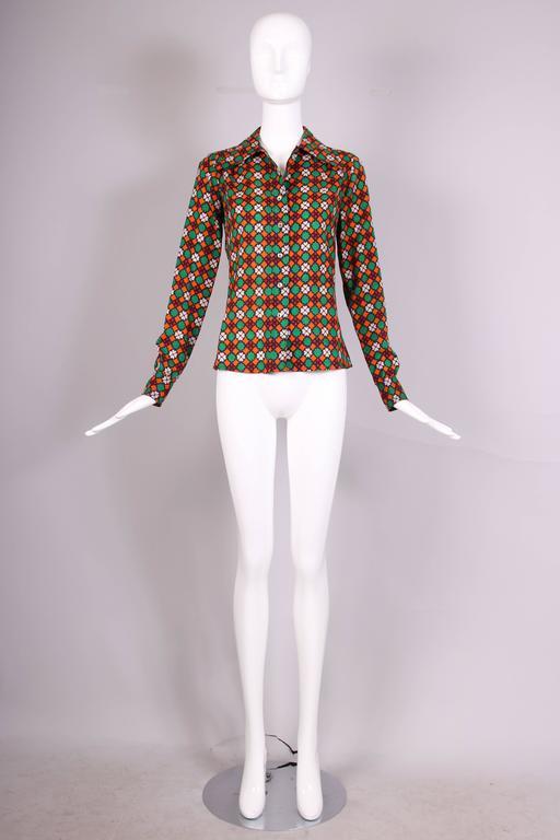 1970 39 s yves saint laurent ysl printed multi colored blouse for Yves saint laurent white t shirt