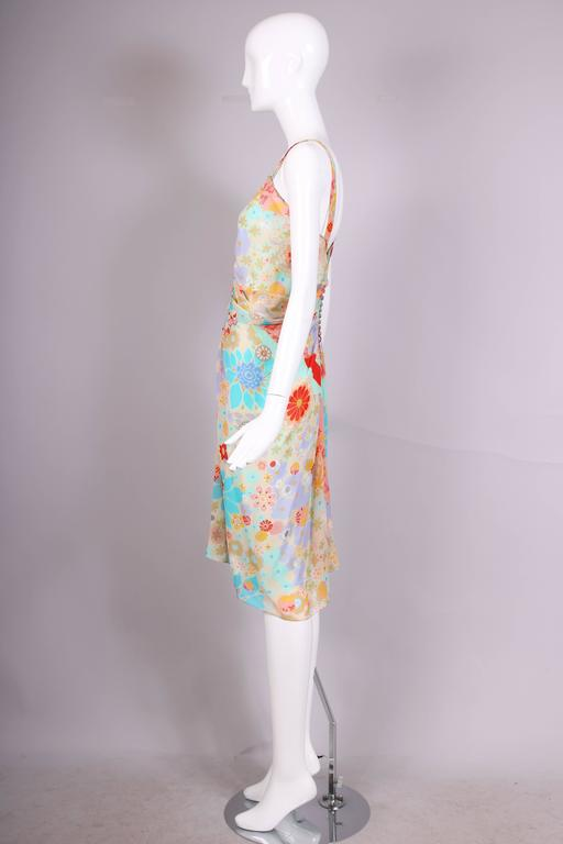 John Galliano Multi-Colored Floral Print Bias Cut Cocktail Dress W/Ruching In Excellent Condition For Sale In Los Angeles, CA