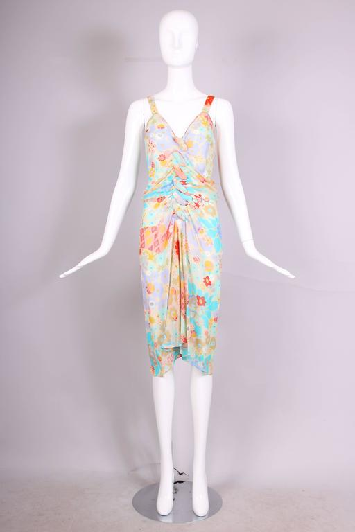 Gray John Galliano Multi-Colored Floral Print Bias Cut Cocktail Dress W/Ruching For Sale