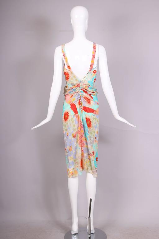 Women's John Galliano Multi-Colored Floral Print Bias Cut Cocktail Dress W/Ruching For Sale