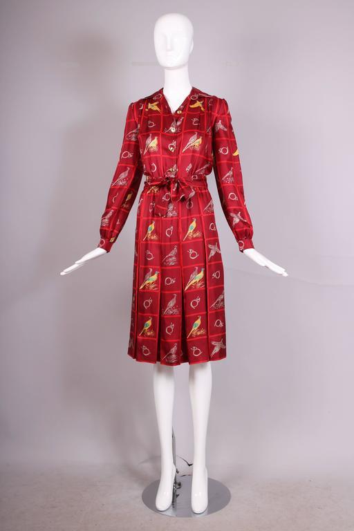 83daaf6da6b Red Vintage Gucci Burgundy Silk Pleated Dress W  Pheasant   French Horn  Print For Sale