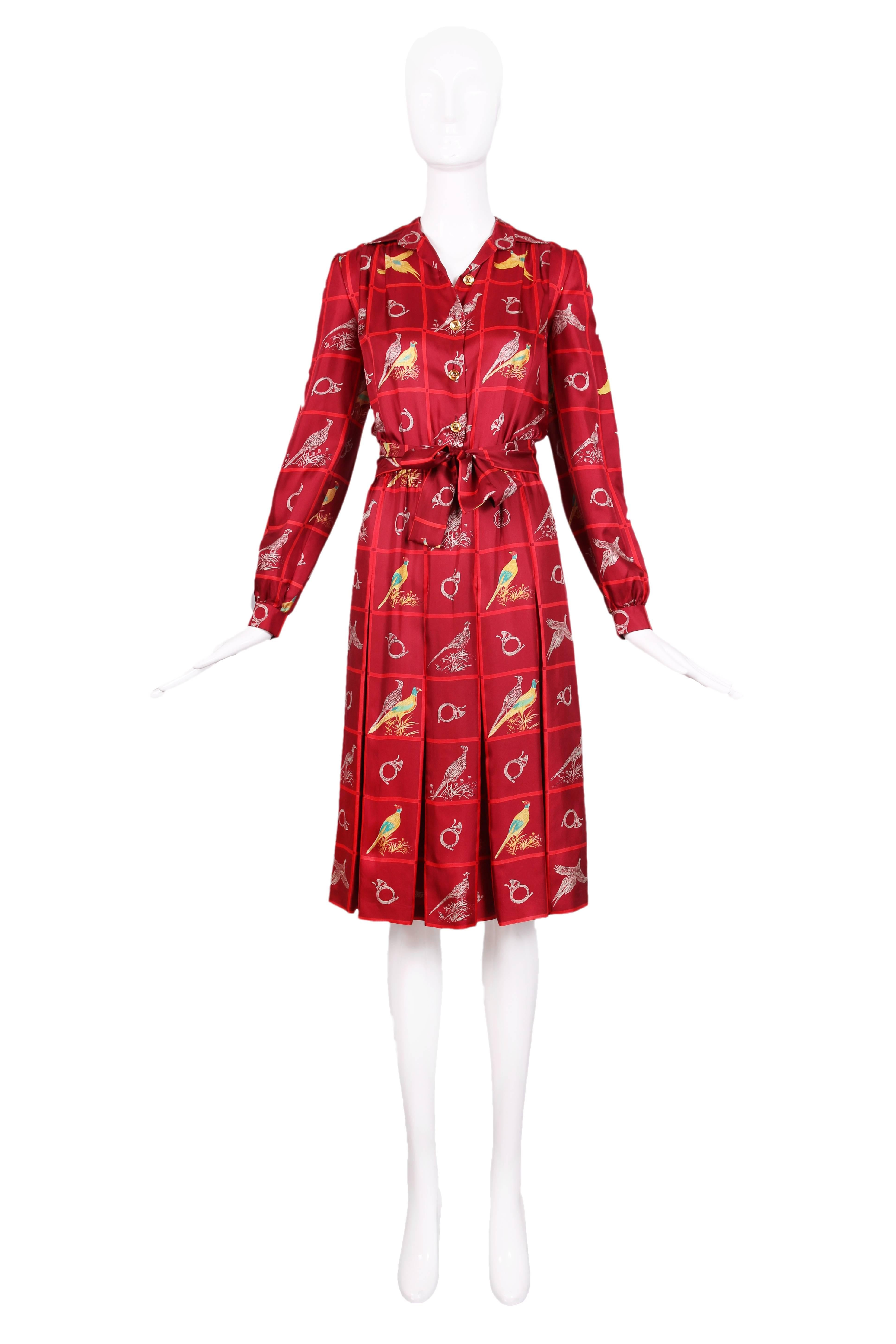 4c3b294b584 Vintage Gucci Burgundy Silk Pleated Dress W  Pheasant and French Horn Print  For Sale at 1stdibs